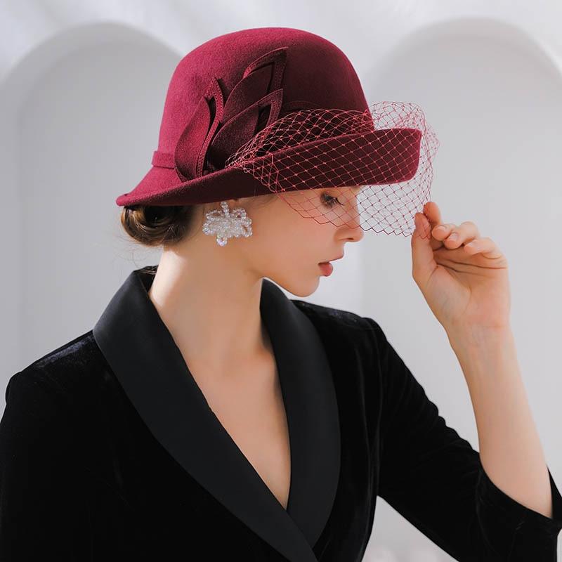 ee8c83cbd Fibonacci 2018 New Brand Quality Wool Felt Mesh Women's Fedoras Autumn  Winter Hats Dome Elegant Banquet Fedora Hat