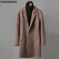 YASUGUOJI 2018 Новый На зиму; высокого качества теплая шерсть Slim Fit длинное пальто Для мужчин утолщаются одной кнопки кашемировое пальто Sobretudo NDY7