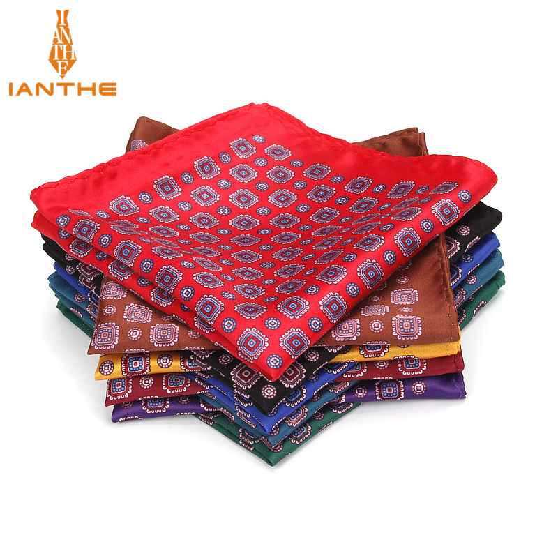 Men's Brand Handkerchief Vintage Geometric Pocket Square Soft Hankies Wedding Party Business Silk Colorful Chest Towel Gift Navy