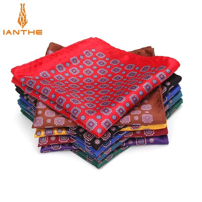 Men's Brand Handkerchief Vintage Geometric Pocket Square Soft Hankies Wedding Party Business Silk Colorful Chest Towel Gift Navy
