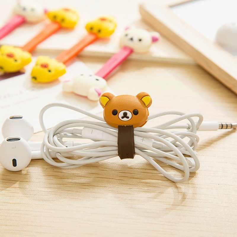 1 sztuk śliczne Cartoon Kawaii telefon komórkowy kabel USB przycisk zapięcia organizator drutu zestaw słuchawkowy linia Winder klips do torebek