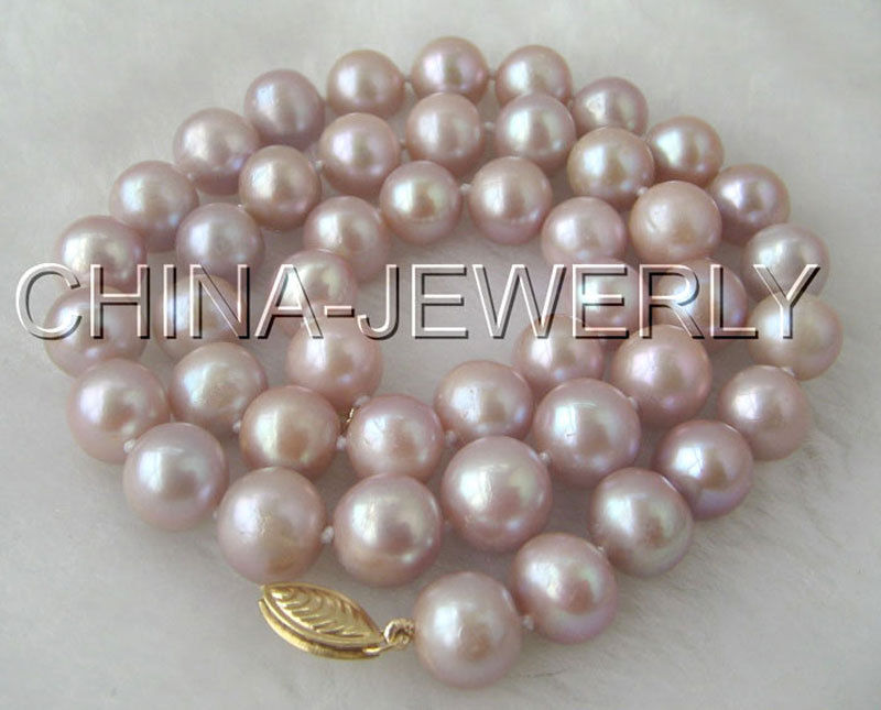 """P1689 - AAA 17"""" 10mm natural purple round freshwater pearl necklace -free shipping"""
