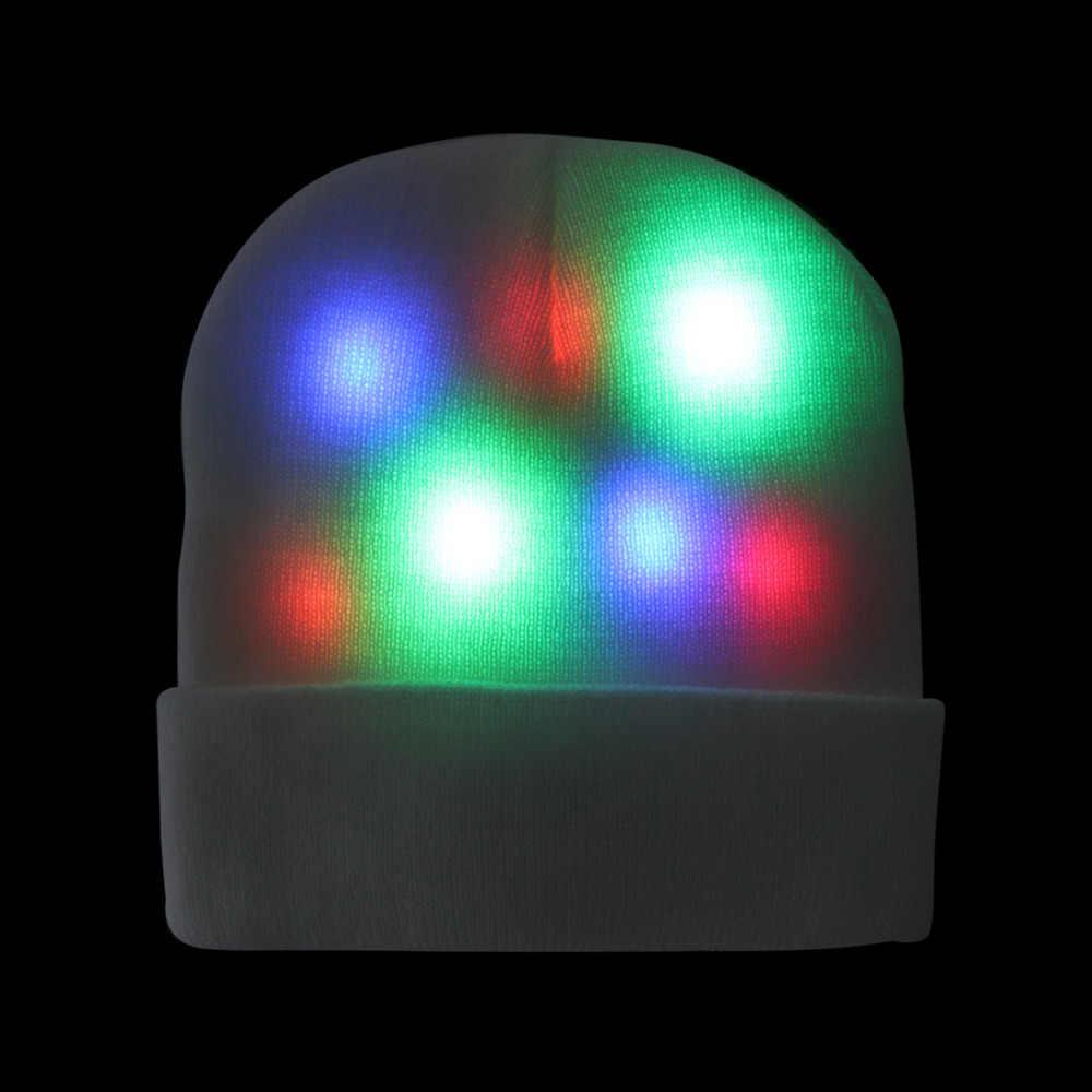 DIODO EMISSOR de luz Para Cima Do Chapéu Chapéu Gorro com Modo 3 Luzes Coloridas Unisex Malha Chapéu de Luz para o Partido Sports Walking Jogging andar de bicicleta