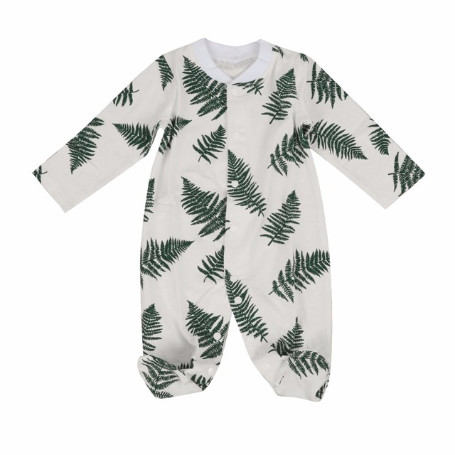 3e55677b22 christmas baby girl rompers pajamas newborn clothes long sleeve green leaf print  cotton sleepwear outfit infant jumpsuit