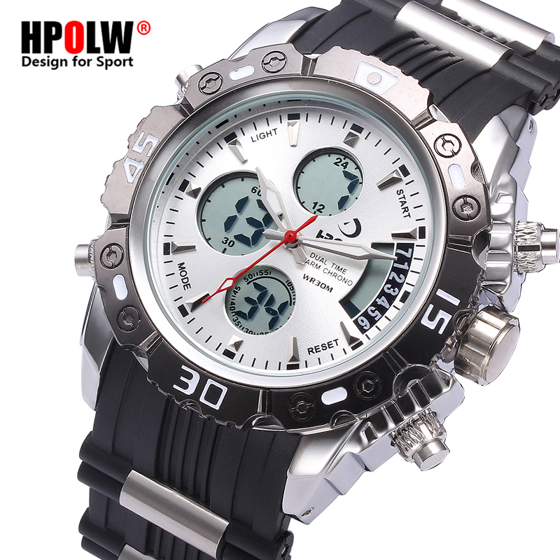 Military Army Luxury LED Sports Casual HPOLW Mens Watches Waterproof Men Digital Watch Quartz Stainless Steel Man Wristwatch mens luxury sports stainless steel digital led military date quartz wrist watch