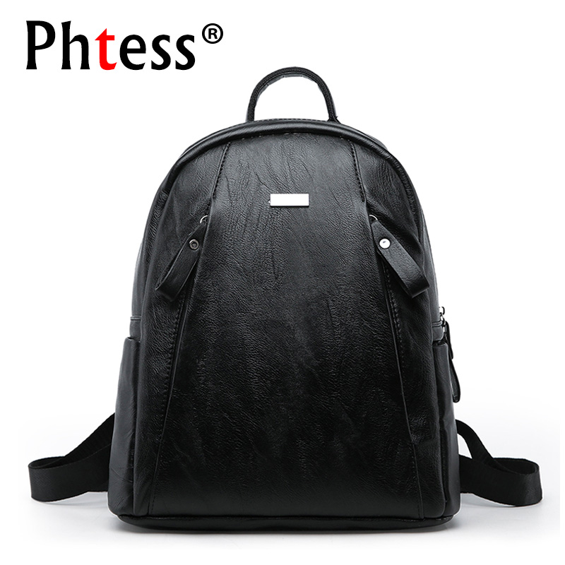2017 Vintage Backpack For School Preppy Style Women Black Leather Backpacks Female Rucksack Travel Shoulder Bag Mochila Bagpack 2016new rucksack luxury backpack youth school bags for girls genuine leather black shoulder backpacks women bag mochila feminina