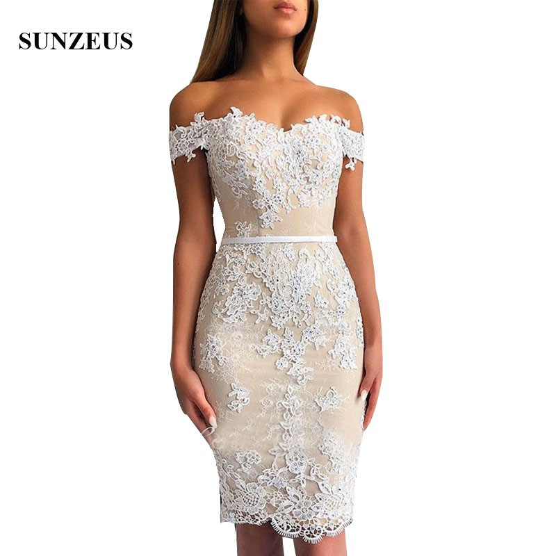 Knee length Appliques Lace Bridesmaid Gowns Sheath Sweetheart Off ...