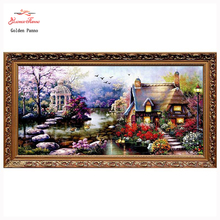 Sale Needlework,DIY DMC Cross stitch,Sets For Embroidery kits,small house garden home decor Counted Cross-Stitch,factory direct sale