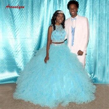 c72218581 Cristales de lujo vestidos de quinceañera vestido de baile dos 2 piezas de  tul fiesta de graduación dulce 16 vestidos de 15 anos