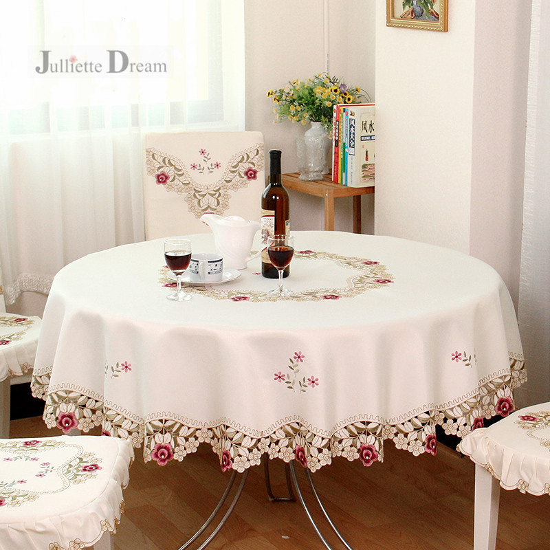 Fashion European pastoral embroidery tablecloth Round dining table cloth cabinet cover for wedding decoration Tea Table cover