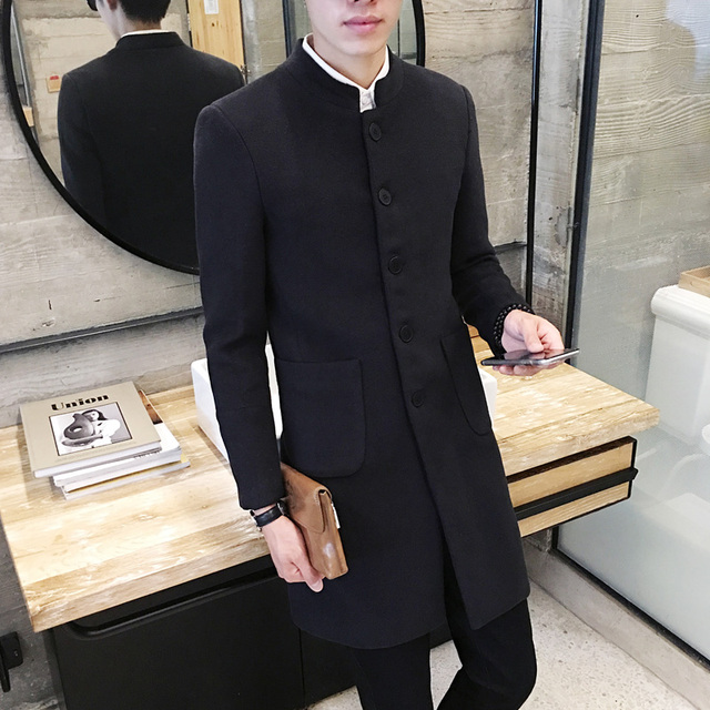 New 2019 Men's Boutique Fashion Pure Color Leisure In The Stand Collar Long Single-breasted Woolen Cloth Dust Coat / Mens Jacket 3