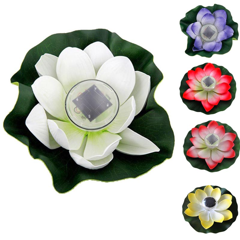 New Lotus Flower Shape Solar Power Light Water Floating Outdoor Waterproof Energy Saving LED Lamp For Pool Pond Garden 8