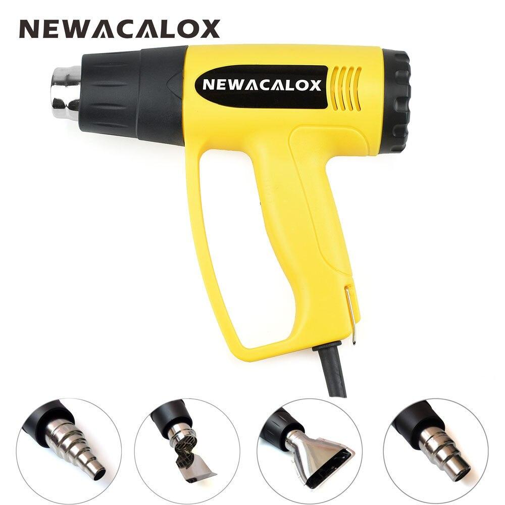 NEWACALOX Pistola de aire caliente 2000 W 220 V Enchufe de LA UE Eléctrico Industrial Pistola de Aire Caliente Termorregulador Retractilado Térmica 4 unids calentador de la Boquilla
