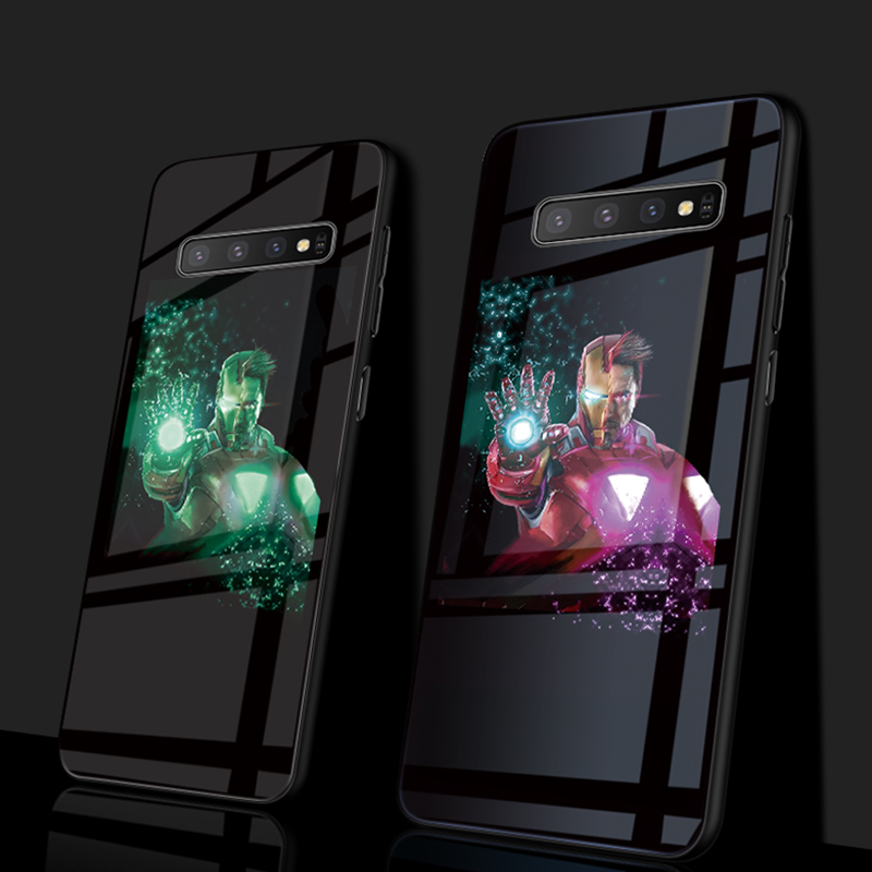 Marvel Avengers Luxury Luminous Tempered Glass Phone Case Iron Man Silicone Case For Samsung Galaxy s8 s9 s10 Plus 8 9 note in Fitted Cases from Cellphones Telecommunications