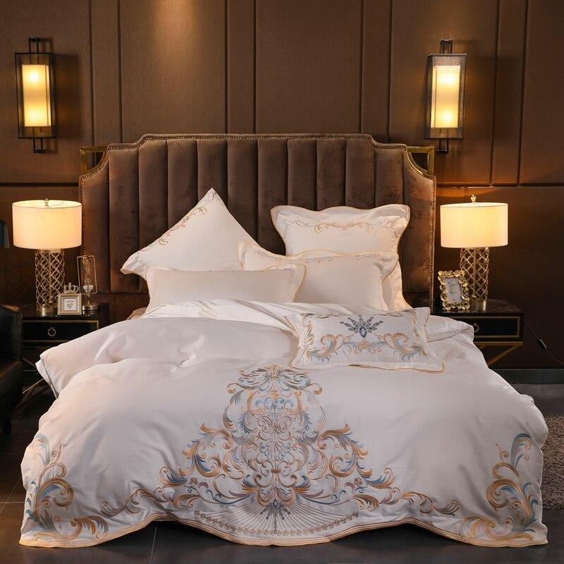 Luxury Queen King SizeBed Sheet White Egyptian Cotton Bedding Set Bed Set Bedlinen Duvet Cover Parrure De Lit Ropa De Cama