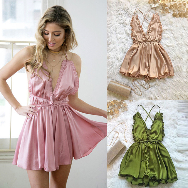 b9e868377e8 Fashion Women Sexy Sleepwear Style Jumpsuit Rompers Clubwear Playsuit  Trousers 3 color
