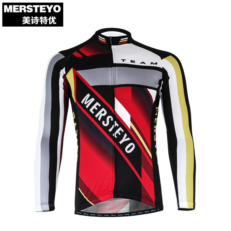 MERSTEYO Pro Men Bike jersey Long Sleeve Team Cycling clothing Cool Red Male Riding Top MTB Wear Ropa Ciclismo Shirts Jakets