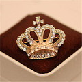 Charming Imperial crown Shape Woman Brooches Pins Wholesale Free Shipping Wedding Inlay Crystal Crown Shirt Collar Brooch