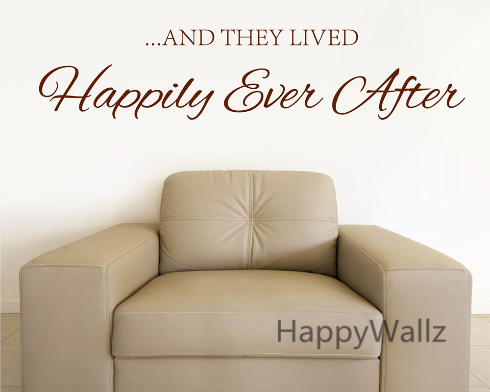 And They Lived Happily Ever After Family Quote Wall Sticker Decorating DIY Home Lettering Quote Wall Decal Custom Colors Q115 image