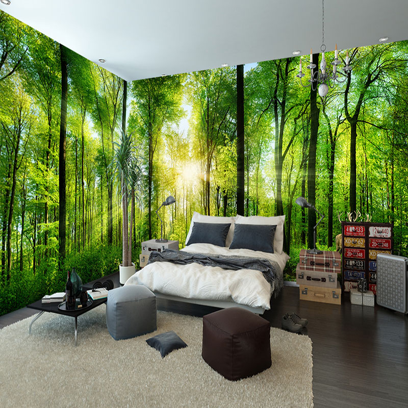 Custom Mural Natural Scenery Wallpaper Forest 3D Landscape Background Wall Mural Living Room Bedroom Wall Paper Home Decoration  free shipping 3d wall breaking basketball background wall bedroom living room studio mural home decoration wallpaper