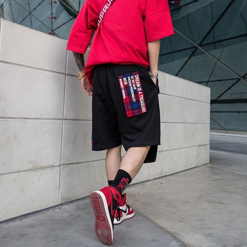 Striped Plaid Patchwork Men Shorts Elastic Waist Drawstring Beach Shorts Hip Hop High Streetwear Joggers Male Shorts Trousers in Casual Shorts from Men 39 s Clothing