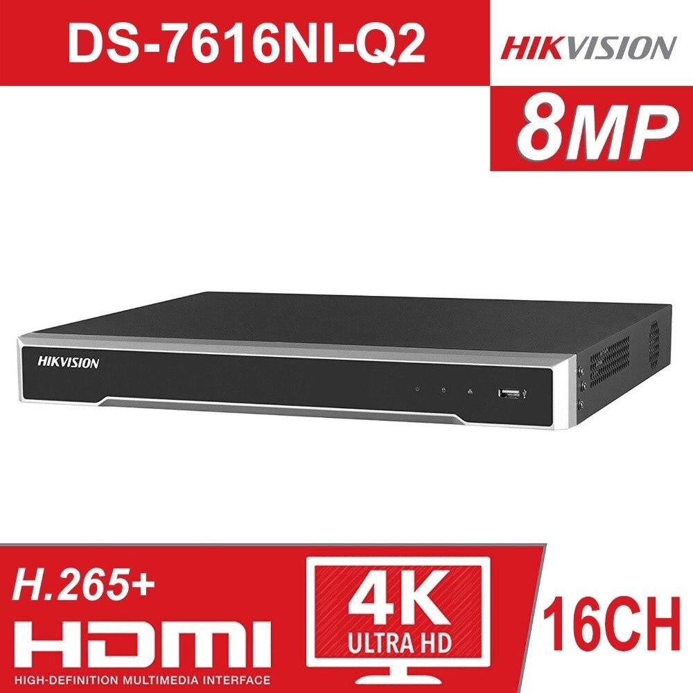 D'origine Hikvision 16 Canal CCTV Système ONVIF 16CH NVR DS-7616NI-Q2 pour Caméra de Sécurité 2 SATA HDMI VGA Sortie intégré NVR