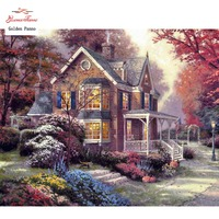 Golden Panno DIY DMC 14CT 11CT DMC hand made cross stitch kits Needlework embroidery wall decoration Fantasy castle 0729