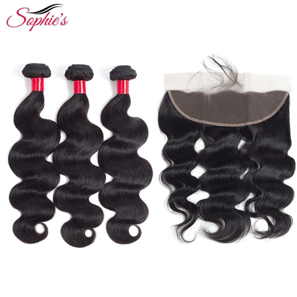 sophie's Hair 3 Bundles Med 13 * 4 Frontal Body Wave Brazilian - Skønhed forsyning - Foto 1