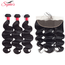 sophie's Hair 3 Bundles With 13*4 Frontal Body Wave Brazilian Non-Remy Human Hair Weaves  Natural Color Hair Extensions