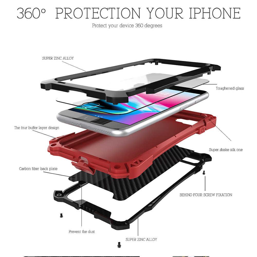 R-רק עמיד הלם Dustproof פחמן סיבי מזג זכוכית אלומיניום מתכת שריון מקרה עבור iPhone X XS מקסימום 8 6 s 7 בתוספת כיסוי 5S SE