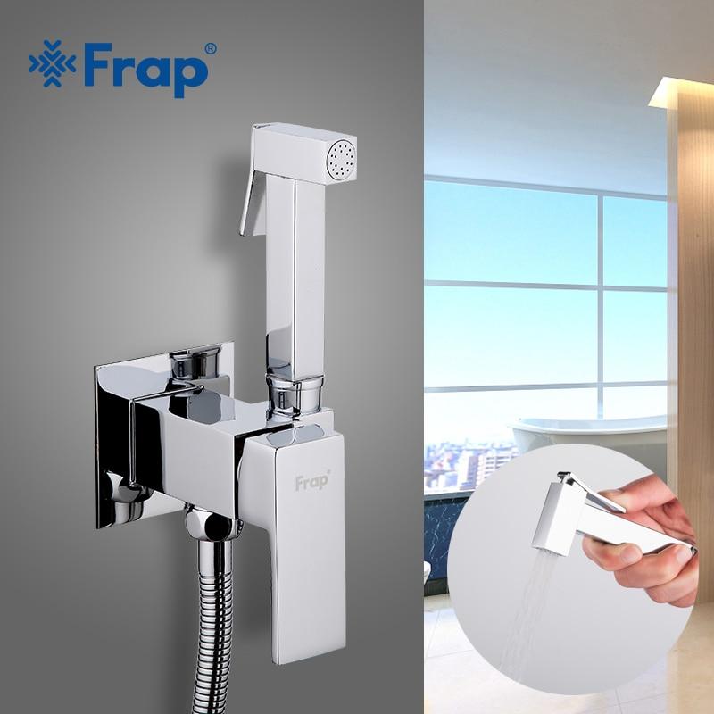 FRAP Bidet Faucets Bathroom Shower Wall Mounted Bidet Toilet Faucet Shower Hygienic Crane Square Bidet Mixer Portable Sprayer