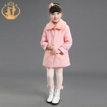 Проворные Зима Розовый Искусственного Меха Дети Пальто Хлопка Шерстяные Девушки Замороженные Куртка Принцесса Шерстяное Пальто для Девочки