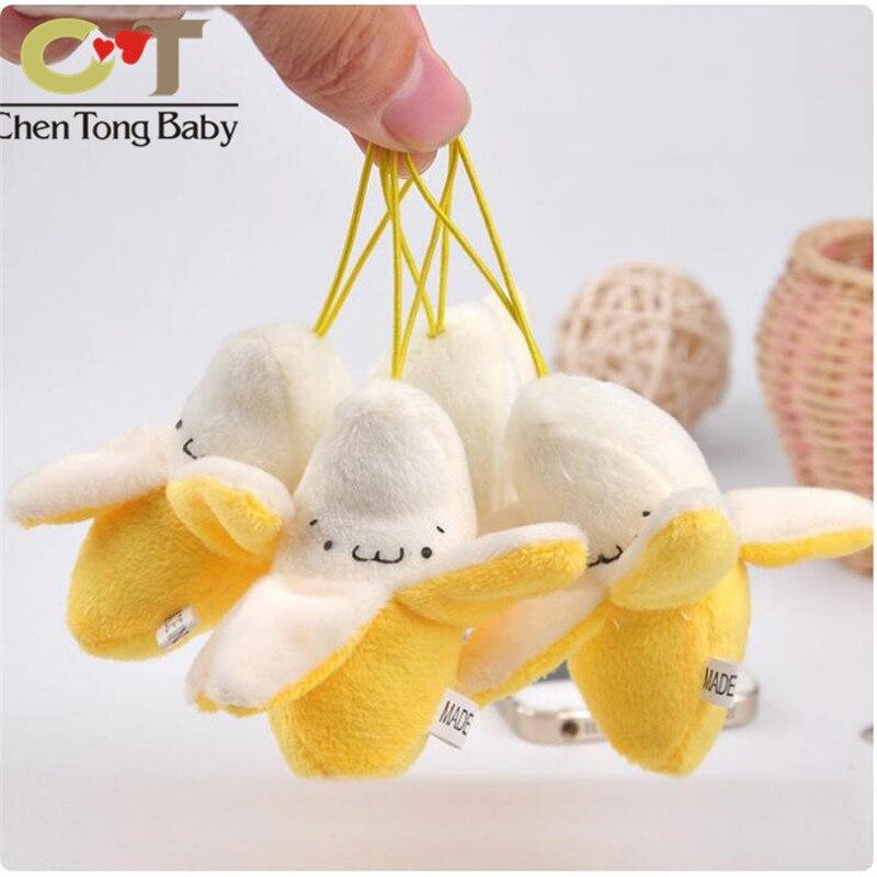 Peeling banana mini plush pendant toy doll doll plush Keychain with rope 8cm  wj04