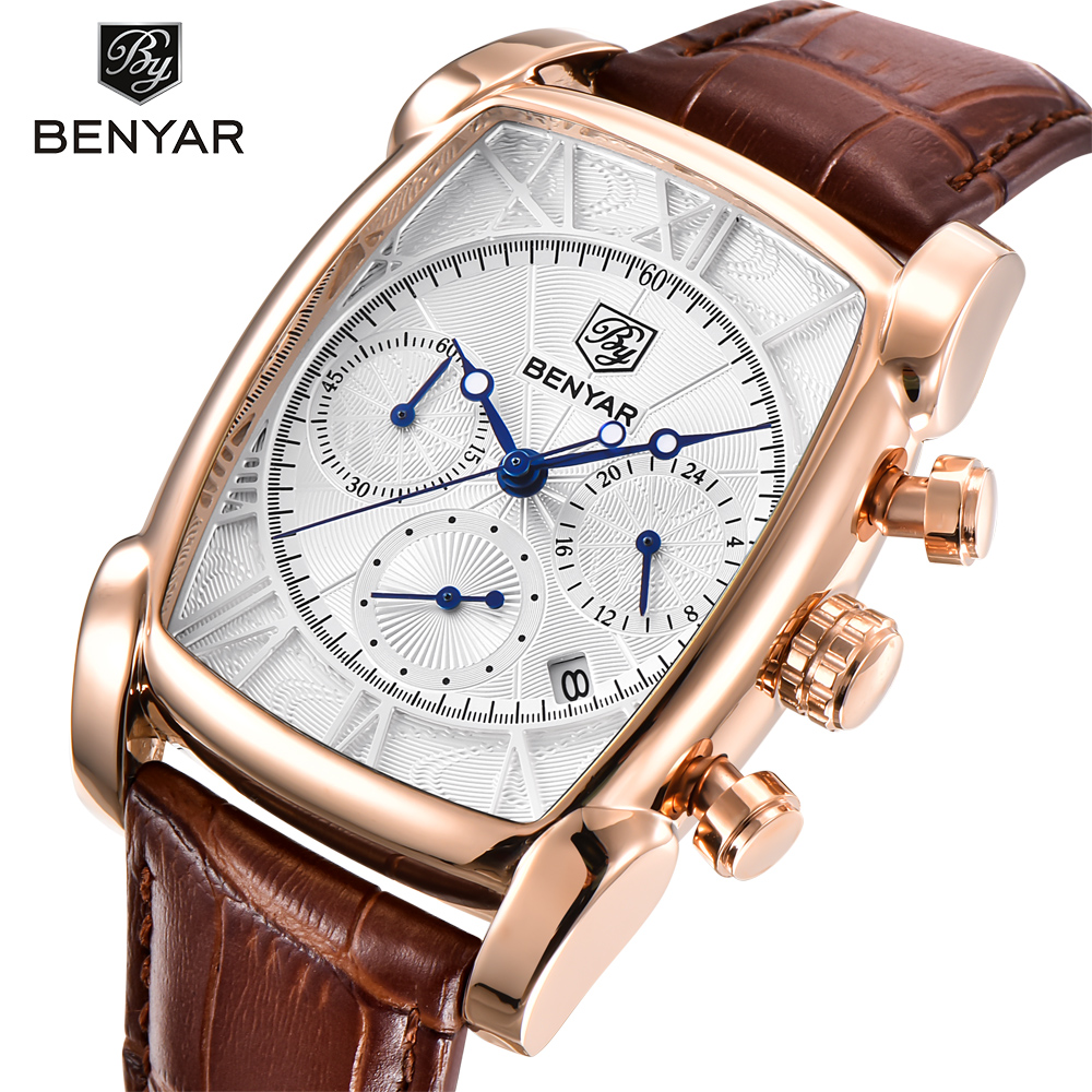 BENYAR Classic Rectangle Case Fashion Sport Chronograph Men's Watches Waterproof 30M Genuine Leather Strap Luxury Quartz Watch