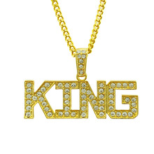 YD&YDBZ King Letter Pendant Necklace Women & Men Unisex Gold Bling Bling Full Rhinestone Necklace Punk Rock Rave Choker Jewelry(China)