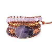 Dropshipping Wrap Bracelets Natural Stones Crystal Natural Stone Charm 5 Times Friendship Bracelet Boho Bracelet Homme