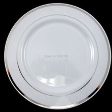 "120pcs/lot 10.3"" White Silver Rim Plastic Dinner Plate Round Plate Wedding Heavy Party Festival Primary Plate Free Shipping EMS"
