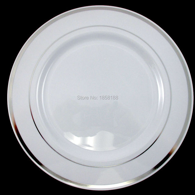 120pcs/lot 10.3  White Silver Rim Plastic Dinner Plate Round Plate Wedding Heavy Party  sc 1 st  AliExpress.com & 120pcs/lot 10.3