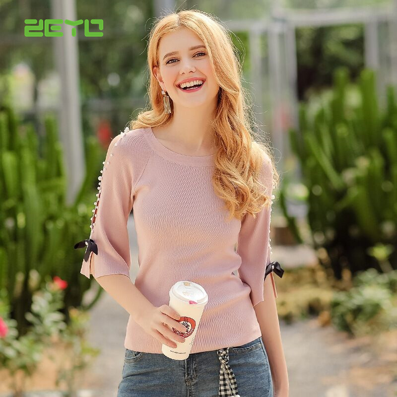 ZEYO 2018 beading sweater,women casual pullovers sweater elegant and quality design, X3120268