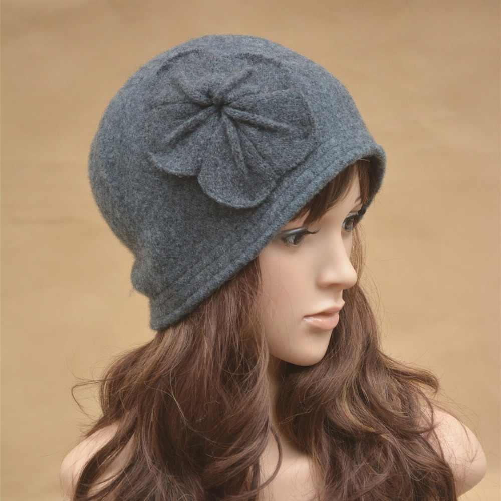 aad969a9dd3 Lawliet Vintage Style Winter Women Beanies Hat With Flower Design Wool  Bucket Hats Wholesale Warm Hats