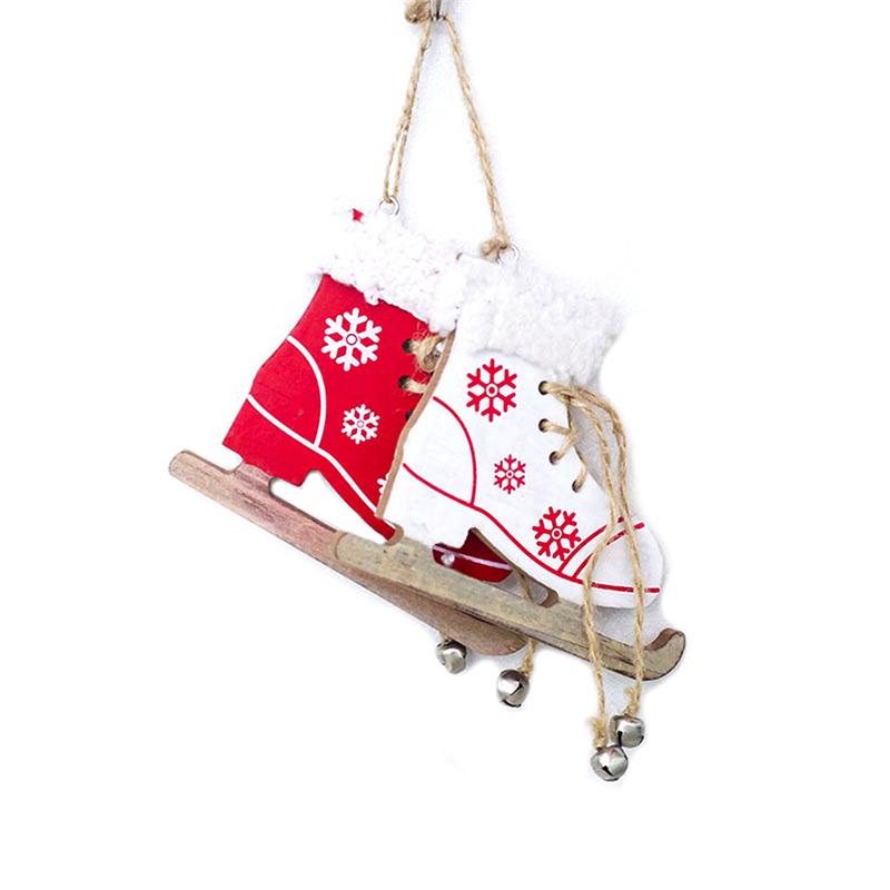 1pc Snowflake Pattern Wooden Sleds Boots Christmas Xmas Tree Hanging Pendant Random Color Latest Technology Diamond
