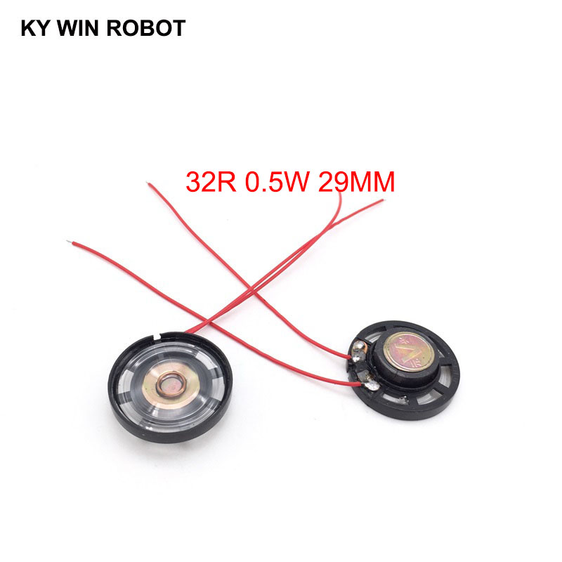 2pcs/lot New Ultra-thin Toy-car Horn 32 Ohms 0.25 Watt 0.25W 32R Speaker Diameter 29MM 2.9CM With Wire
