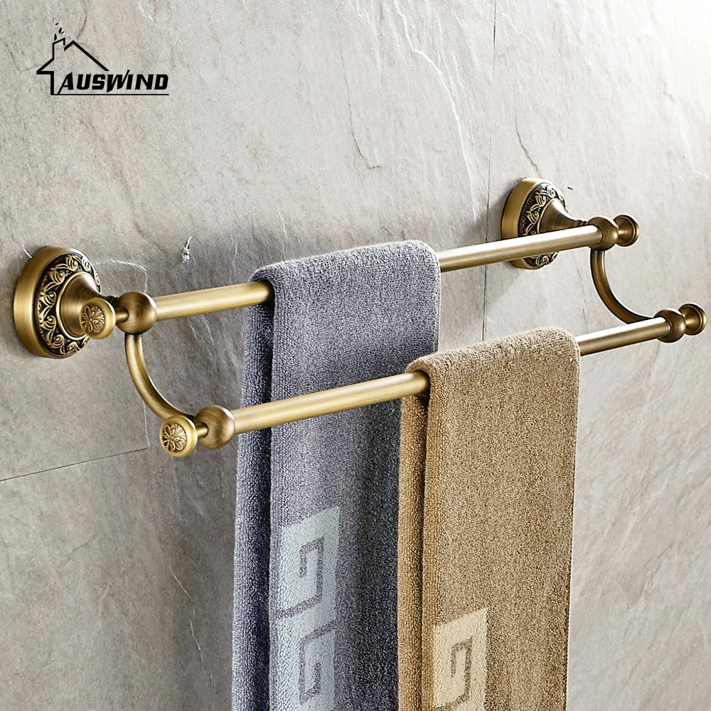 Antique solid brass towel bar european brushed double layers wall mounted towel rack bathroom - Bathroom accessories towel bars ...