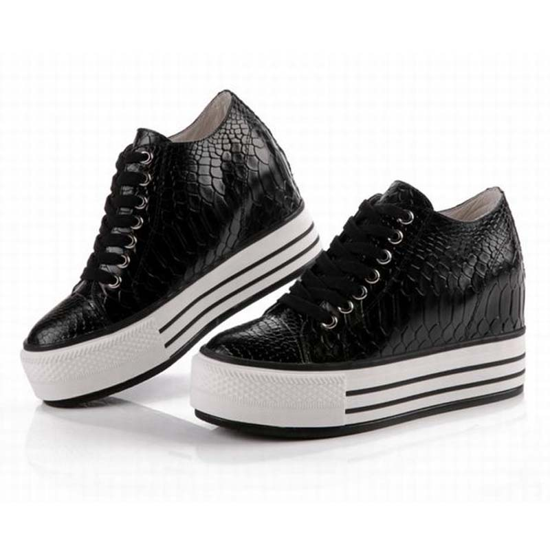 2017 hot new fashion crocodile genuine leather lace up casual shoes snake height increasing platform wedge ladies elevator shoes