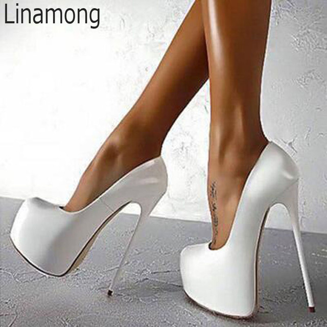 fc030f8074f Sexy 16 cm Ultra High Heels High Platform Pumps Solid Shiny Leather Ladies  Slip on Party