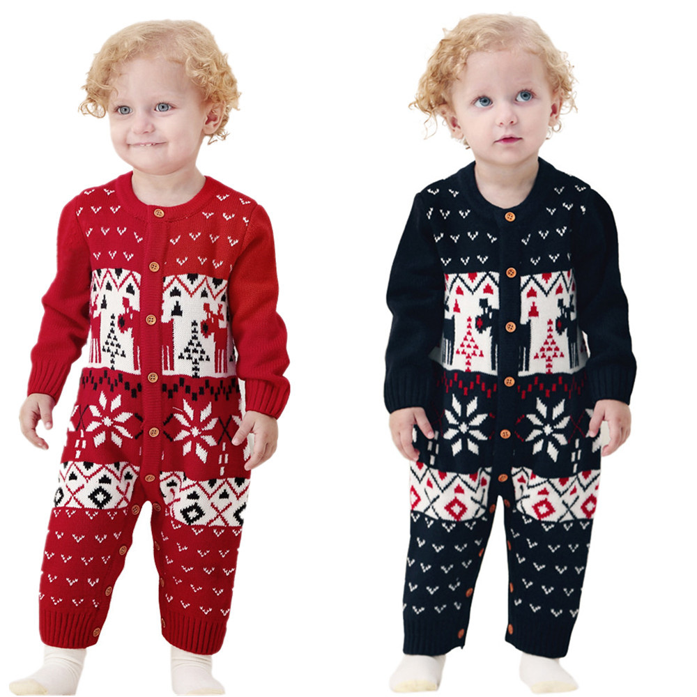 Christmas Newborn Baby Girls Rompers Knitted Long Sleeve Round Neck Toddler Jumpsuits Sweaters Red Outwear Infant Onesie Outfits baby rompers o neck 100
