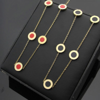 High quality titanium steel fashion brand jewelry 12 round card red black double sided sweater chain long necklace for women