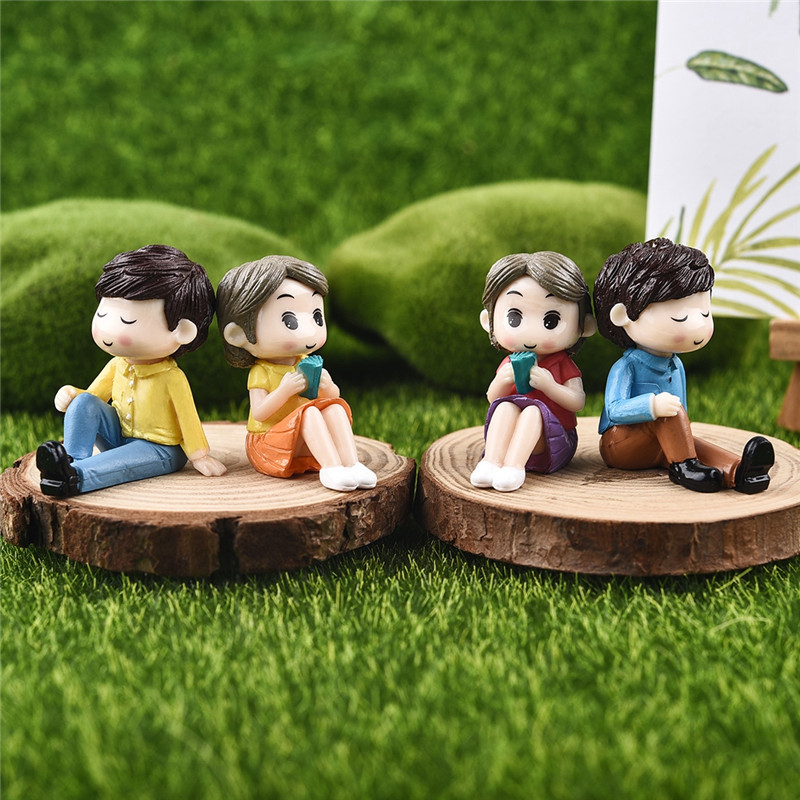 Resin Sweet Couple Marry Wedding Home Garden Decoration Ornaments Mini Crafts Bonsai Micro Landscape DIY Craft
