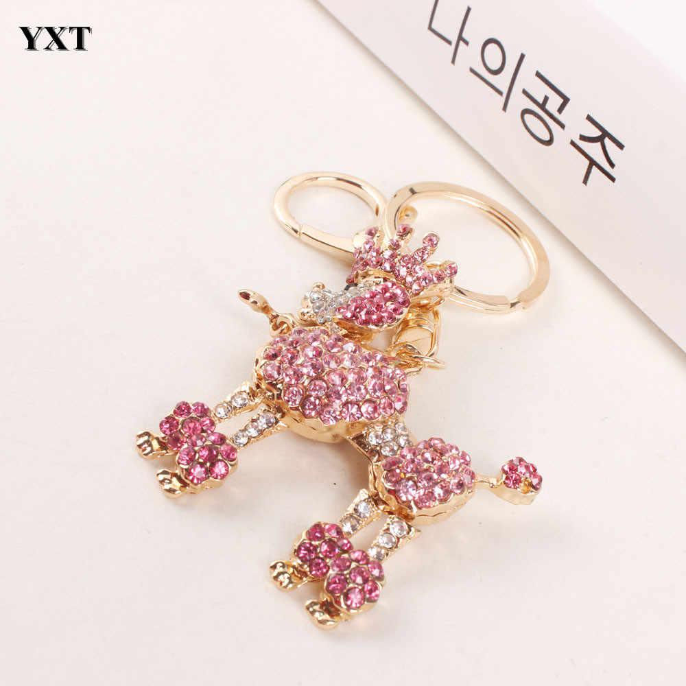 Crown Poodle perro llavero bonito Diamante de imitación cristal colgante encanto bolso coche llavero cumpleaños fiesta regalo