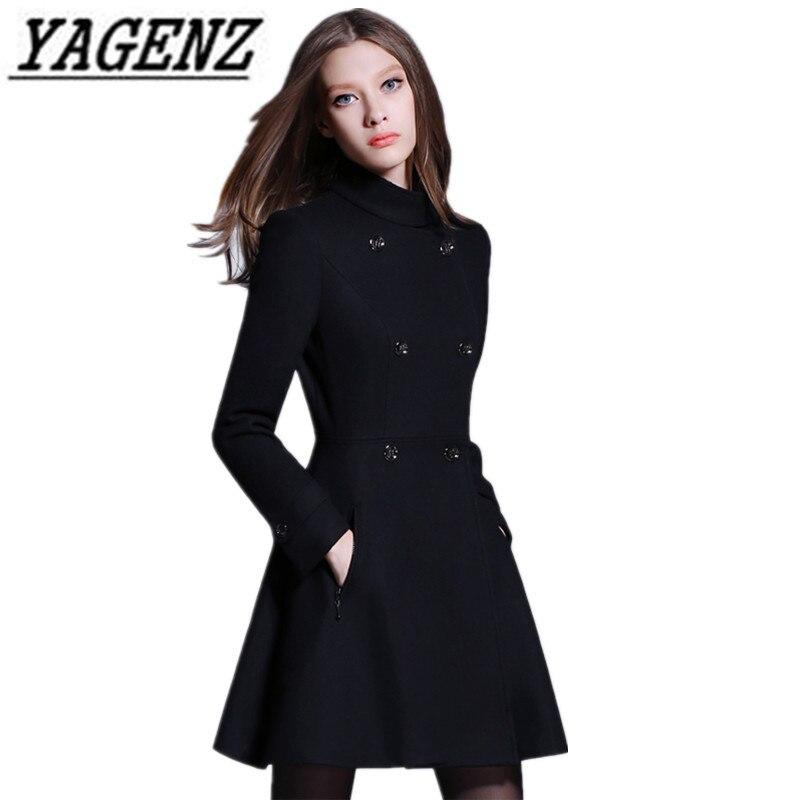 Женская Черная шерстяная куртка, зимнее облегающее пальто в английском стиле, 2020